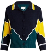 Maison Margiela Long-sleeved cotton intarsia-knit polo shirt