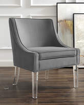 Nicole Miller Velvet Accent Chair with Acrylic Legs