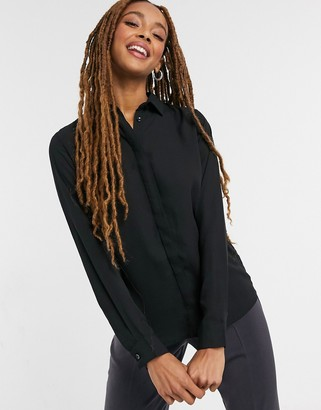 New Look plain button up shirt in black