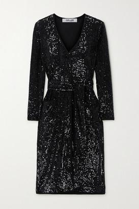 Diane von Furstenberg Melina Belted Sequined Chiffon Dress - Black