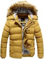 DreamMa Men Winter Casual Cotton Padded Jacket Parka Hooded Outwear Down Coat