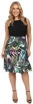 London Times Plus Size Brush Jungle A-Line Skirt