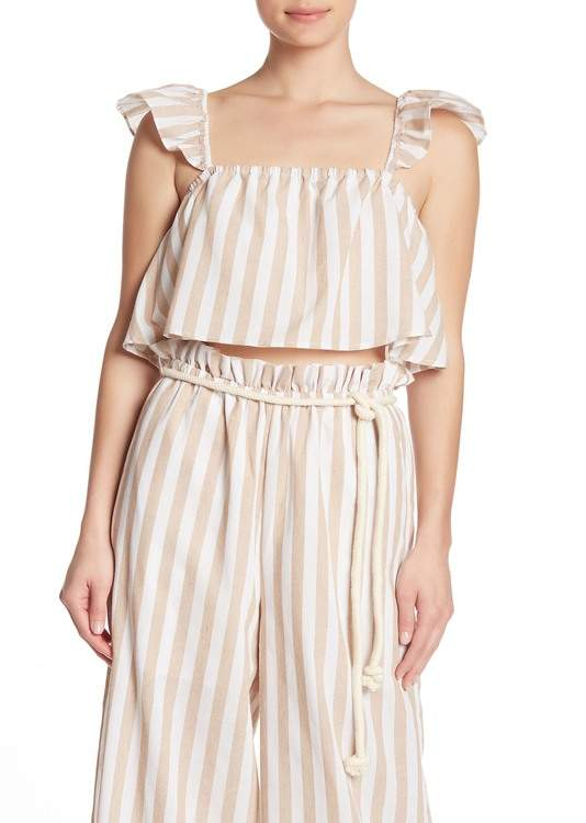 ENGLISH FACTORY Stripe Frill Tank Top