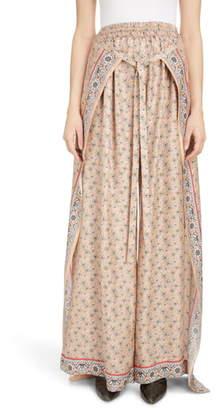 Chloé Bandana Print Sarong Waist Wide Leg Silk Pants