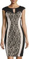 Jax Keyhole Lace Sheath Dress, Black/Clay