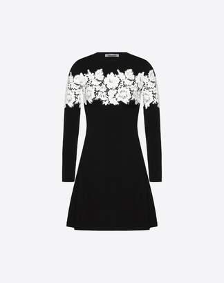 Valentino Lace Knit Dress Women Black Viscose 83%, Polyester 17% M