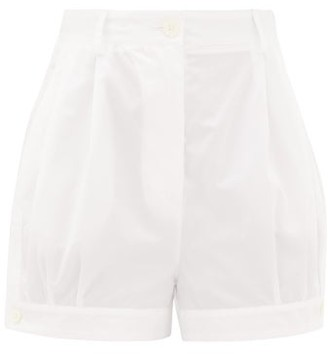 Prada High-rise Buttoned-cuff Cotton Shorts - White
