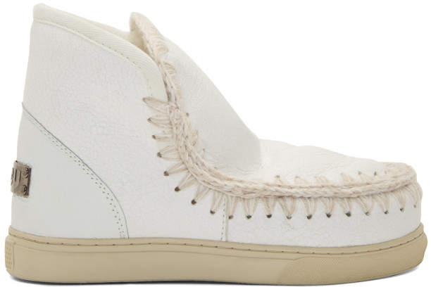 Mou White Cracked Mini Eskimo Sneaker Boots