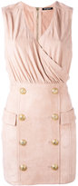 Balmain button embellished cocktail dress - women - Cotton/Lamb Skin/Viscose - 36