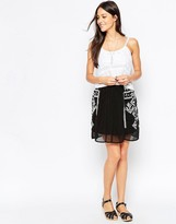 Liquorish Skirt with Embroidered Side Panels