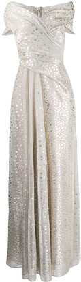 Talbot Runhof Metallic Voile Long Dress
