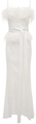 Elie Saab Crepe Dress W/ Feathers & Front Slit