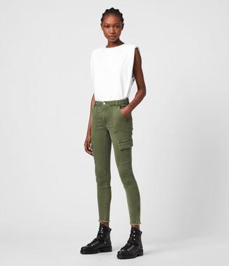 AllSaints Duran Mid-Rise Skinny Cargo Jeans, Khaki Green