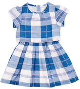 John Lewis Two Tier Checked Dress, Blue