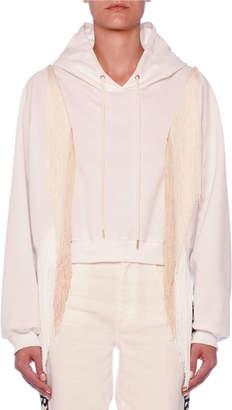 Stella McCartney Fringe-Arms Cropped Hooded Sweatshirt
