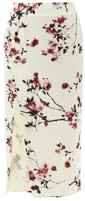 Altuzarra Edmund Cherry Blossom-print Side-slit Silk Skirt - Ivory Multi