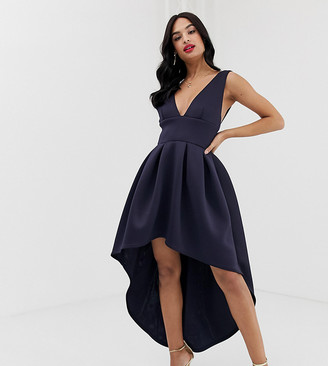 True Violet exclusive plunge front high low skater dress in navy