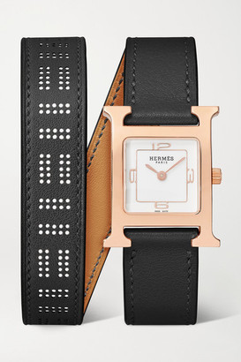 HERMÈS TIMEPIECES Heure H Double Tour 21mm Small Rose Gold-plated And Leather Watch - Black