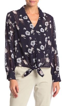 Pleione Tie Front High/Low Floral Blouse (Petite)