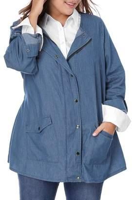 Unique Bargains Women's Plus Size Chambray Outerwear Roll-up Sleeve Denim Jacket