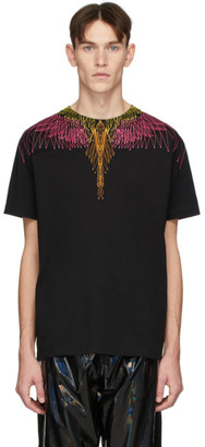 Marcelo Burlon County of Milan Black and Pink Bezier Wings T-Shirt