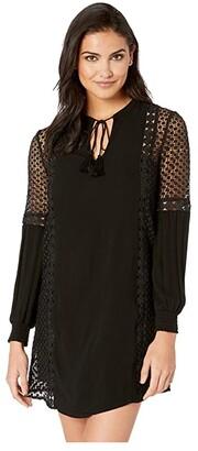 BB Dakota Date with Destiny Rayon Crepe Dress with Circular Lace Trim (Black) Women's Dress