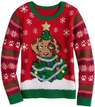 It's Our Time Girls 7-16 Christmas Puppy Sweater