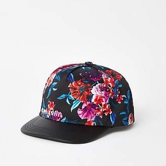 River Island Boys black floral flat peak cap
