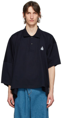 Lanvin Navy Asymmetric Polo