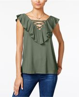 HIPPIE ROSE Hippe Rose Juniors' Lace-Up Ruffled Top