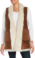 Andrew Marc Reversible Faux Shearling Long Vest