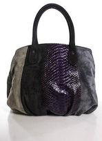 Zagliani Brown Gray Purple Suede Python Skin Double Strap Shoulder Handbag