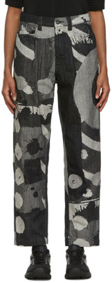 Homme Plissé Issey Miyake Black and Grey Big Brush Jeans