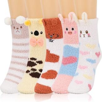 QKURT 5 Pairs Fluffy Socks Winter Thermal Cozy Sleep Socks Super Warm Home Socks Coral Fleece Floor Socks for Women and Girls Soft Fuzzy Bed Socks for Home Wearing
