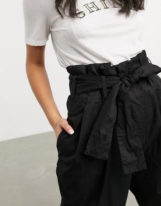 JDY Donna high waist paper bag wide leg trousers