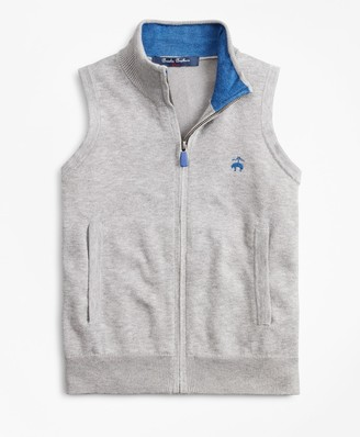 Brooks Brothers Boys Supima Cotton-Blend Full-Zip Sweater Vest