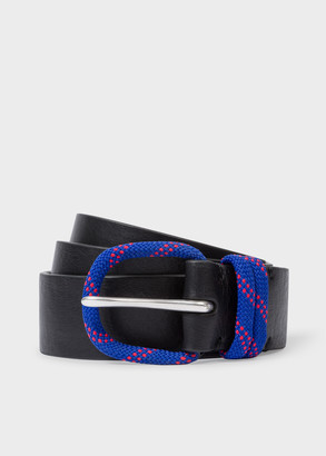 Paul Smith Men's Black Leather Belt With Cord Buckle