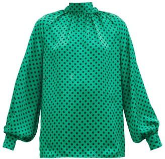 MSGM High-neck Polka-dot Crepe Blouse - Green