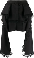 Alexander McQueen lace trim draped shorts