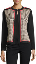 Ming Wang Houndstooth Long-Sleeve Jacket, Black/Wheat/Apricot