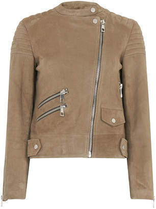 Whistles Suede Collarless Leather