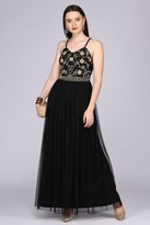 Gatsbylady London Lilly Drop Waist Maxi Dress in Black Gold