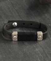 Nautilus Leather & Silvertone Pillar Bracelet
