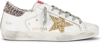 Golden Goose Superstar Sneaker in White, Yellow Gold & Beige Brown Leopard | FWRD