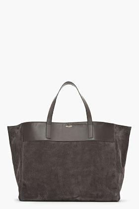 Saint Laurent Dark grey suede Leather-trimmed bo shopper tote