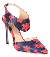 Nicholas Kirkwood Leda Cutout Flower-Print Leather Slingbacks