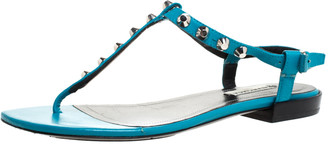 Balenciaga Teal/Black Leather Studded T Strap Flat Sandals Size 38.5