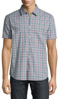 John Varvatos Plaid Short-Sleeve Sport Shirt, Light Blue