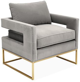 One Kings Lane Bevin Accent Chair - Brass/Light Gray Velvet