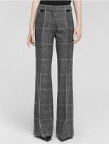 Calvin Klein Collection Prince Of Wales Wool Fleece Wide Leg Trouser